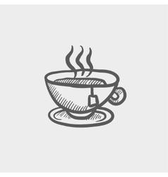 Hot tea in a cup sketch icon vector image