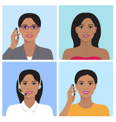 Indian woman avatar set vector