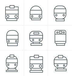 Line icons style set of transport icons - train an vector
