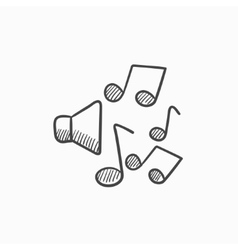 Loudspeakers with music notes sketch icon vector image vector image
