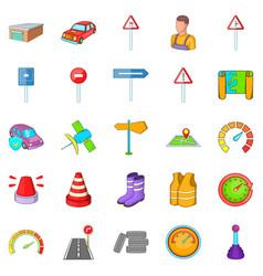 motor vehicle icons set cartoon style vector image