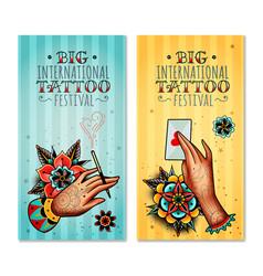 Oldschool tattoo hands vertical banners vector