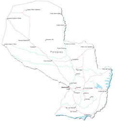 Paraguay Black White Map vector image vector image