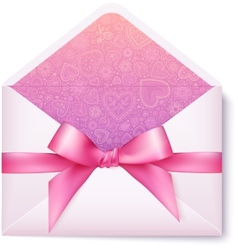 Pink open envelope with pink bow vector