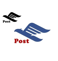 Post symbol with abstract blue bird vector