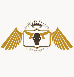 Retro label design decorated with eagle wings and vector
