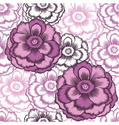 seamless decorative pattern with peonies vector image
