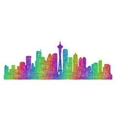 Seattle skyline silhouette - multicolor line art vector
