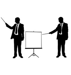 silhouettes of businessmen pointing vector image vector image