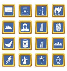 Uae travel icons set blue vector