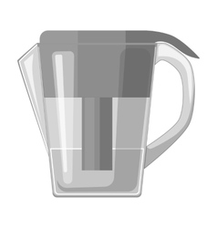 Water jug with filter cartridge icon in monochrome vector