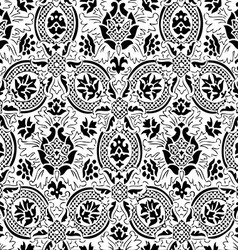 White and black seamless abstract floral backgroun vector
