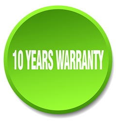 10 years warranty green round flat isolated push vector image