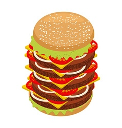 Very large hamburger high juicy tall burger huge vector