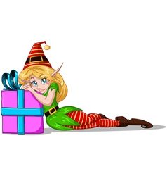 Elf Girl Leaning On Present For Christmas vector image