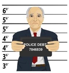 Arrested senior businessman posing for mugshot vector