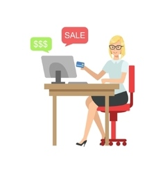 Woman on-line shopping with credit card vector
