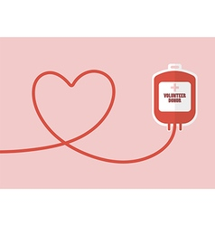 Blood donation bag with tube shaped as a heart vector
