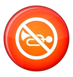 No horn traffic sign icon flat style vector