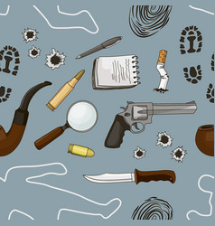 Detective crime icons set pattern vector