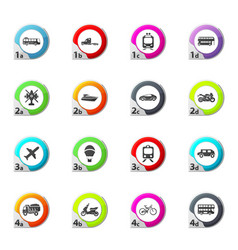 Typse of transport icons set vector