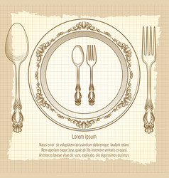 Table setting vintage poster design vector