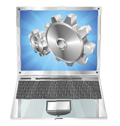 Gear cogs flying out of laptop screen concept vector