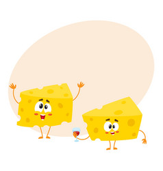 Two funny cheese chunk characters holding wine vector