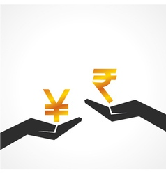 Hand hold yen and rupee symbol to compare vector