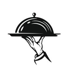 Waiter hold cloche vector