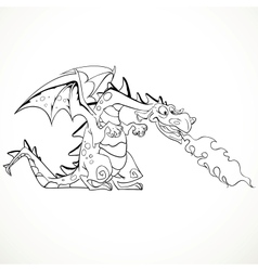 Fabulous magical red fire-spitting dragon black vector