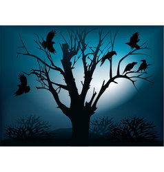 Black ravens on the tree vector image