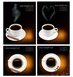 Four design coffee backgrounds vector