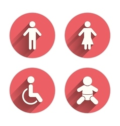 Wc toilet icons human male or female signs vector