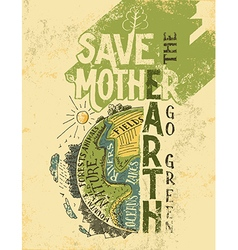 Save the mother earth concept eco poster vector