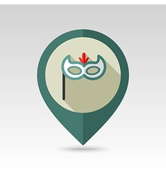 Christmas festive mask flat pin map icon vector