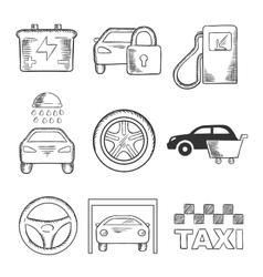 Sketched car service and transportation icons vector