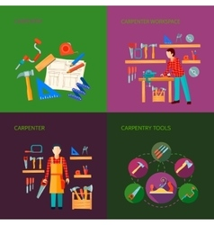 Carpentry flat icons set vector