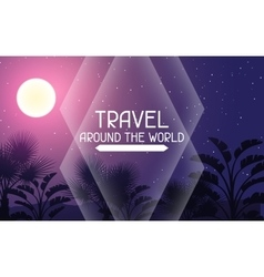 Travel around the world tropical background with vector