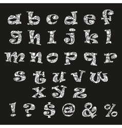 Handdrawn black-and-white alphabet vector