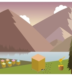 Mountain landscape with beehives vector