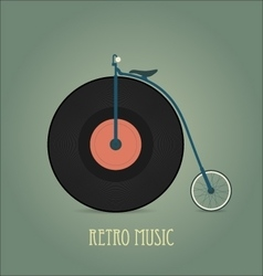 Black vinyl disk vintage record retro music vector