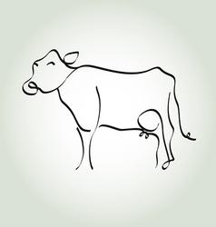 Cow simple icon in black lines vector