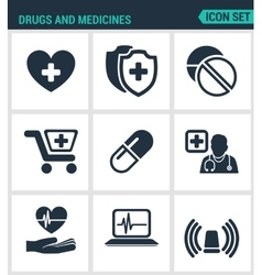 Set of modern icons drugs and medicines vector