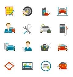 Auto Mechanic Flat Icons Set vector image