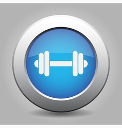 Blue metal button with dumbbell vector