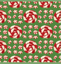 Christmas striped peppermint candies food and vector