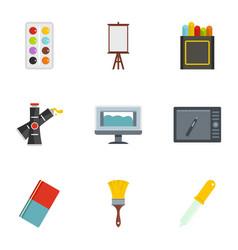 designer equipment icons set flat style vector image