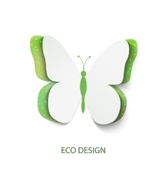 Eco concept green butterfly cut out of paper vector