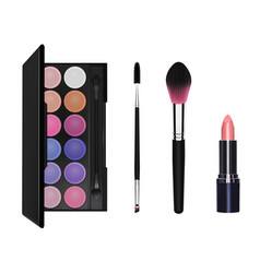 Eyeshadow mascara brush makeup brush and lipstic vector